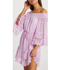 river island womens purple bardot lace beach dress