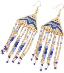 aretes etnicos azul con dorado sasmon ar-11328