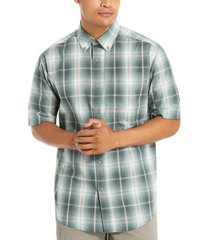 wolverine men's mortar short sleeve shirt (big & tall) dark slate plaid, size lt