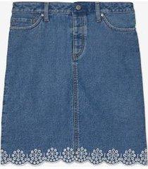 tommy hilfiger women's adaptive scalloped denim mini skirt med wash - 16