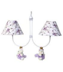 lustre 2l simples com 2 ursinhas princesas infantil menina potinho de mel lilás