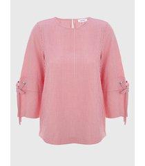 camisa con líneas rosa calvin klein