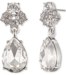 givenchy silver-tone crystal pear drop earrings