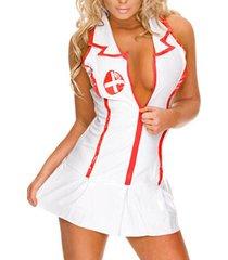 traje de tentación uniforme estampado profundo v cuello teddy blanco