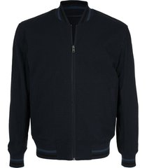 kent & curwen seersucker bomber jacket - blue