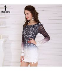 women sexy long-sleeve hollow out backless lace above knee mini party dress
