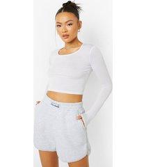 sweat shorts met label, ash grey