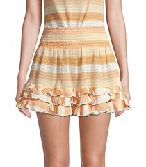 madina stripe ruffle a-line mini skirt