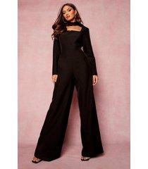 wide leg jumpsuit met hoge hals en uitsnijding, black