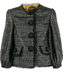 dolce & gabbana tweed decorative button blazer - black