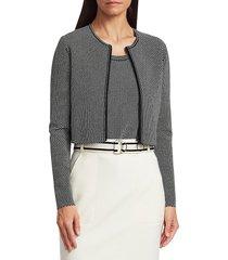 akris punto women's geo knit cropped zip cardigan - black cream - size 12