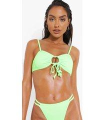 geribbelde bikini top met uitsnijding, green