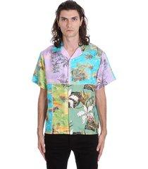 amiri hawaiana patchw shirt in multicolor silk