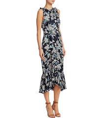 mirna silk sleeveless ruffled print dress
