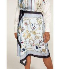 tommy hilfiger women's curve foulard wrap skirt foulard print/blue - 20