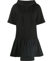 moncler hooded t-shirt dress - black