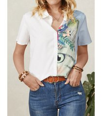 camicetta casual manica corta con risvolto con bottoni con stampa foglia di gatto da donna