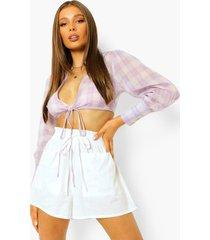 korte geruite blouse, purple