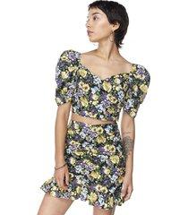 blusa crop manga corta globo flores lila mujer corona