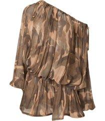 dion lee off-shoulder camouflage mini dress - brown