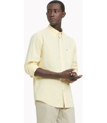 tommy hilfiger men's classic fit essential stretch shirt aspen gold - m