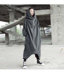 zanzea chaqueta larga con capucha de manga larga con capucha bolsillos con cremallera dobladillo irregular abrigo de vellón sólido mujeres invierno cálido resistente al viento ropa de abrigo básica gris oscuro -gris