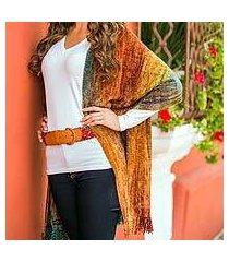 rayon chenille shawl, 'tropical volcano' (guatemala)