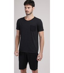 pijama masculino listrado com bolso manga curta preto