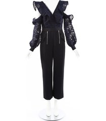 self portrait lace cold shoulder jumpsuit blue/black sz: s