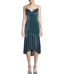high-low velvet slip dress