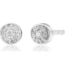 sterling silver fiji tiny button diamond stud earrings diamond