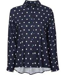 camisa dudalina manga longa punhos pespontos estampa poá feminina (estampado estampa poa, 44)