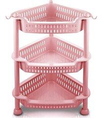 organizador de 3 andares jacki design lifestyle rosa