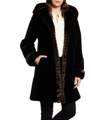 women's gallery hooded faux fur coat, size small - black