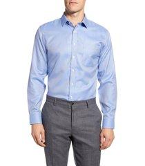 men's big & tall nordstrom men's shop smartcare trim fit chevron dress shirt, size 16 - 36/37 - blue