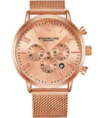 stuhrling men's rose gold mesh stainless steel bracelet watch 48mm