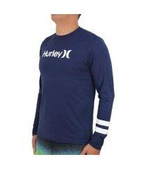 camiseta manga longa surf hurley block masculina