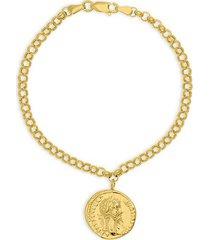 14k yellow gold fancy coin medallion bracelet