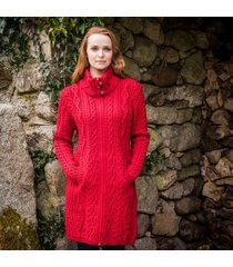 the dunloe aran coat red l