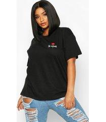 plus no regrets rose pocket print t-shirt, black