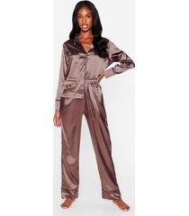 womens but first sleep contrasting satin pajama set - taupe