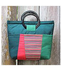 cotton and mahogany handbag, 'keraton green' (indonesia)