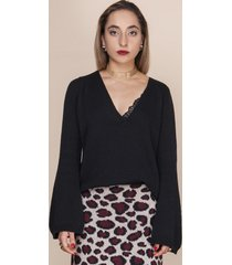 sweter z dekoltem w szpic czarny