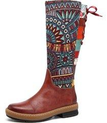 socofy stivali bassi al ginocchio in pelle di stile bohemien con lo splicing