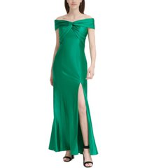 calvin klein twisted off-the-shoulder gown