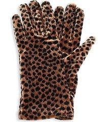 velvet cheetah-print gloves