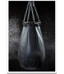 quadro oppen house 60x40cm boxe esporte treino saco de pancada moldura branca c/vidro - branco - dafiti