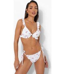 bloemen bikini broekje met geplooide zoom en zijstrikjes, white