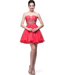 sweetheart beaded short coral chiffon prom homecoming party gown cocktail dress