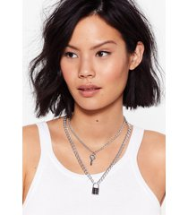 womens under lock and key layered necklace - silver